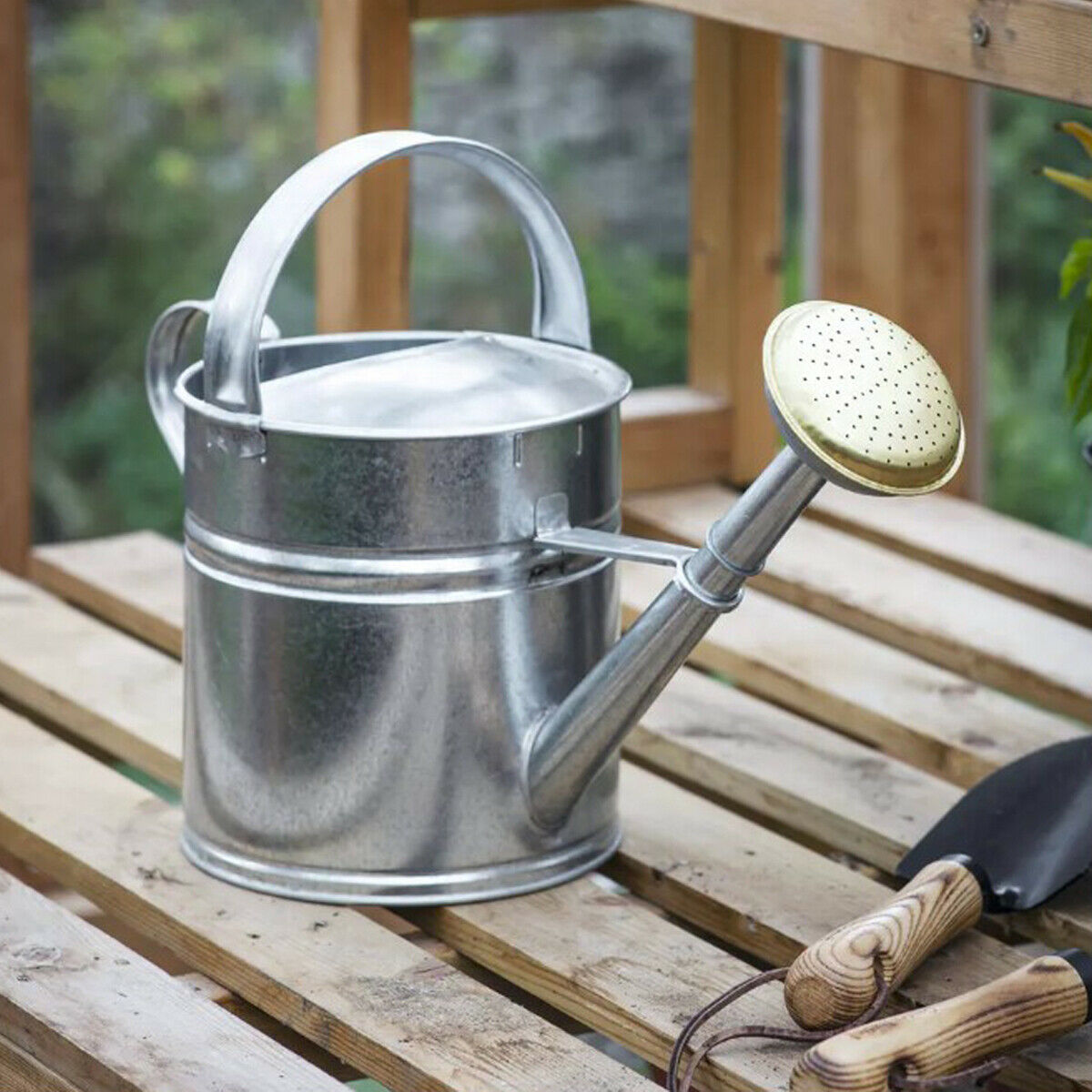 Large Grey Galvanised Steel Brass Rose Metal Outdoor Garden 5 L Watering Can