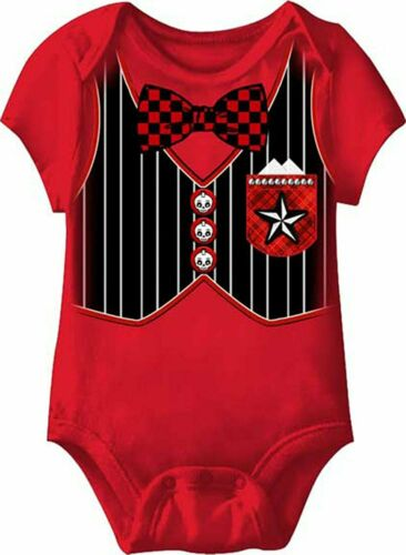 Rock Out gothique gilet et nœud papillon smoking bébé nourrisson d/'une seule pièce Body Creeper rouge