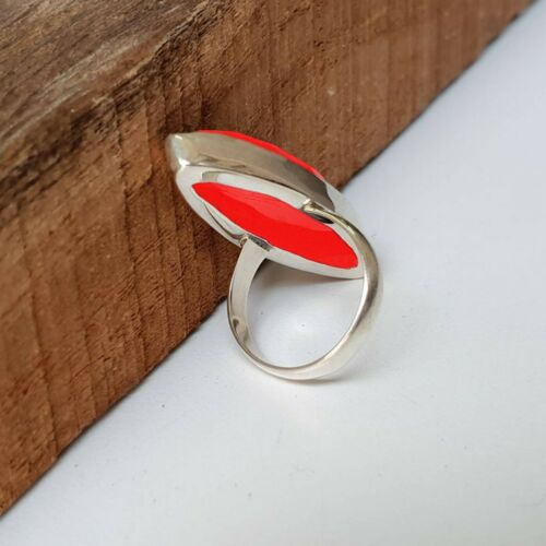 925 Sterling Silver Long Marquise Red Coral Handmade Ring All Size KGJ-R-1139