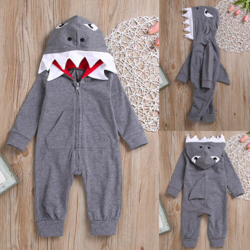 Baby Boy/'s Long Sleeve Jumpsuits 3D Cartoon Shark Hooded Romper Jumpsuit Outfits