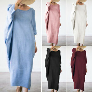 ZANZEA-Women-Batwing-Oversize-Long-Shirt-Dress-Maxi-Dress-Full-Length-Kaftan-Top