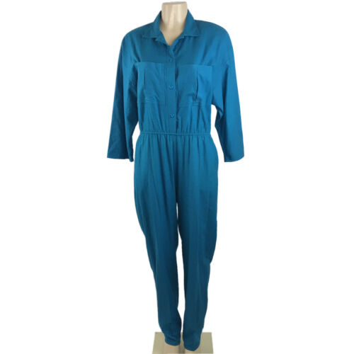 1980s Jumpsuit Vintage Size L Teal Blue Silk Butto