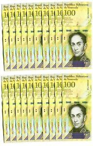 VENEZUELA-BOLIVARES-20-X-100000-100-000-P-NEW-UNC-LOT-20-PCS-Total