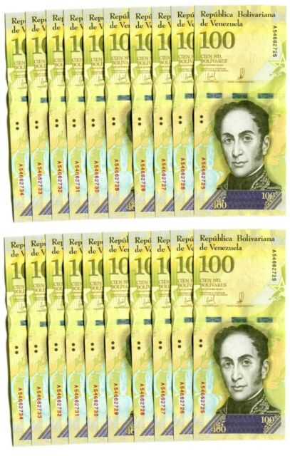 VENEZUELA BOLIVARES 20 X 100000 (100,000) P-NEW UNC LOT 20 PCS Total