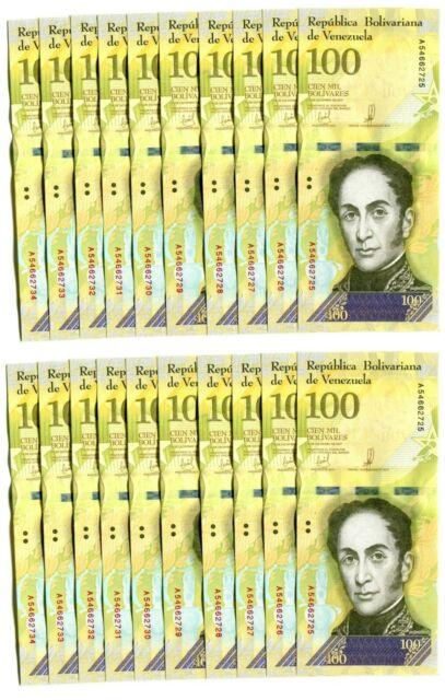 VENEZUELA BOLIVARES20 X 100000 (100,000) P-NEW UNC LOT 20 PCS Total