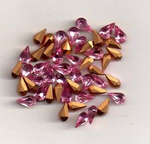 20-POIRES-STRASS-ARTICLE-4300-2-6X3-6-COULEUR-LIGHT-ROSE-SIMILI-DORE