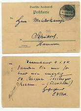03708 - Ganzsache P 30 - Neuenhaus 4.1.1894 nach Schüttorf - 50 Scheffel Kohlen