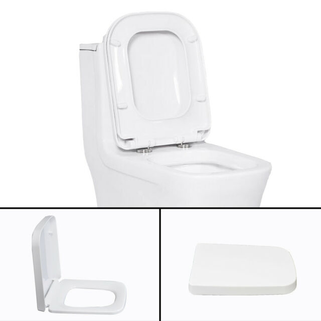 Slow Soft Close Toilet Seat Black UK Modern Bathroom WC Toilet Seat with Fixings