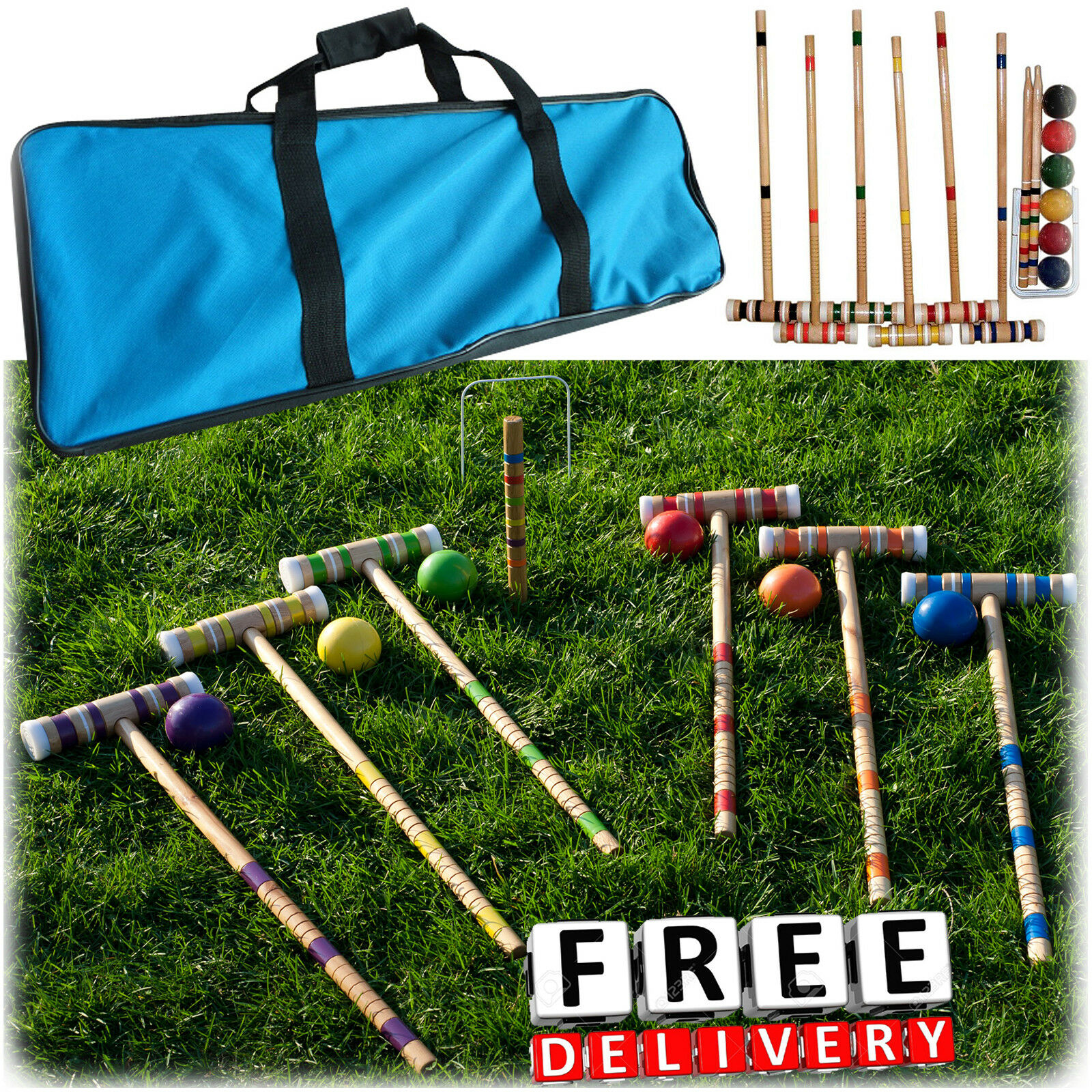 Croquet Set Vintage Lawn Recreation Game Wooden 6 Players  Carry Bag Adult Fun  100% price guarantee