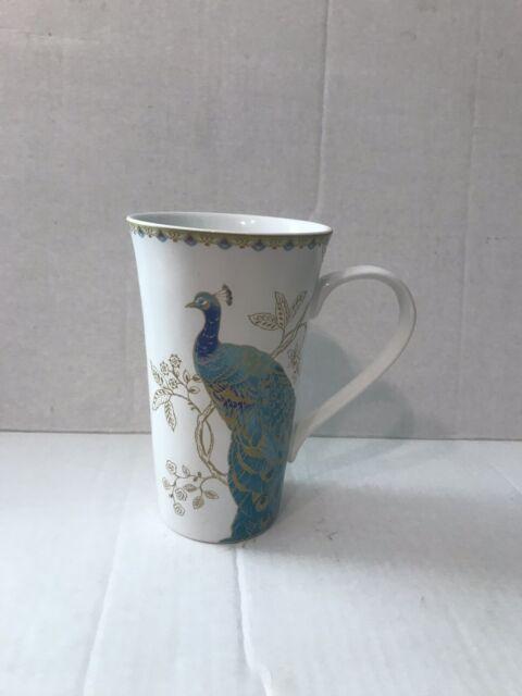 222 Fifth Peacock Garden Coffee Mug Latte Cup Tall Fine Porcelain Teal Flowers