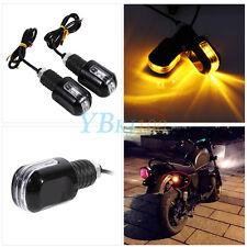 "Motorcycle 7/8"" Handle Bar End Handlebar 6 Amber LED Turn Signal Indicator Light"