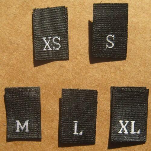 10pcs each SIZE TAGS XS,S,M,L,XL LOT OF 50 PCS BLACK WOVEN CLOTHING LABELS