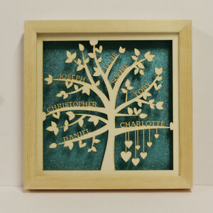 Personalised-Family-Tree-Box-Frame-LED-Lights-Mum-Nan-Birthday-or-Christmas-Gift
