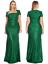 Party Square Neck Dress damigella Ball Goddiva d'onore Emerald Prom Maxi di Evening Sequin tEnztqpw