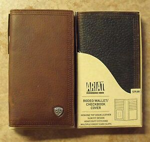 Ariat Genuine Leather Rodeo Wallet Checkbook Cover Ebay