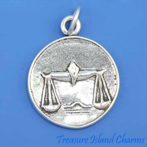 Libra Zodiac Sign 2-Sided .925 Solid Sterling Silver Charm Pendant MADE IN USA