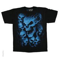 Neon Blue Vampire Skulls T-shirt