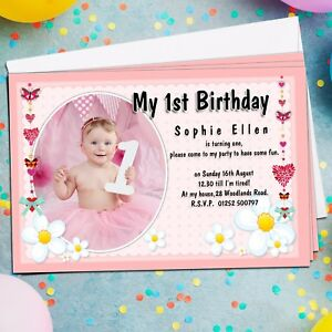 Image Is Loading 10 Personalised Girls 1st First 2nd 3rd Birthday