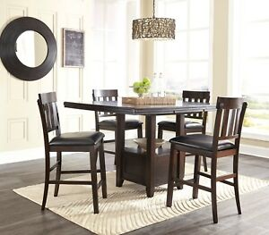 Details about Ashley Furniture Haddington 5 Piece Counter Height Dining  Room Table Set