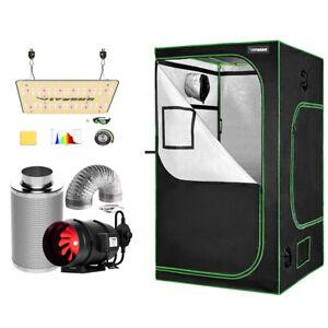 "VIVOSUN 48x48x80"" Reflective Mylar Grow Tent w/ VS1000 LED 8"" Ventilation fan"