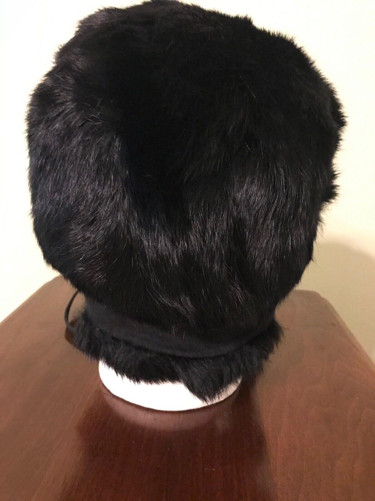 Vintage Black Mink Ladies' Hat with Flap Ear Muffs - image 7