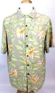 Hawaiian-Silk-Mens-Shirt-L-Large-Floral-Aloha-Tan-Green-Coconut-Button-Front-P11