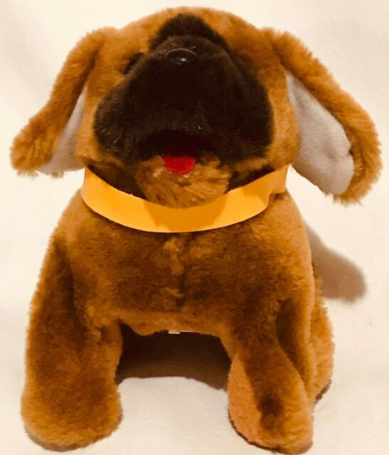 """Brown Electronic Puppy Dog Barks Pants Moves Back and Forth 9"""" Plush"""