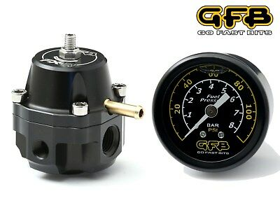 2019 Mode Gfb Fx-r Race Adjustable Fuel Pressure Regulator & Gauge Petrol Ethanol Diesel Koop Nu