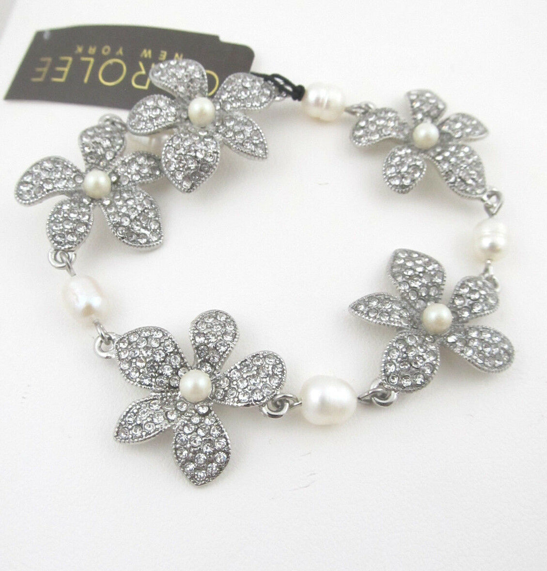 75 Carolee CATCH THE BOUQUET Clear Pave Flower Freshwater Pearl Toggle Bracelet