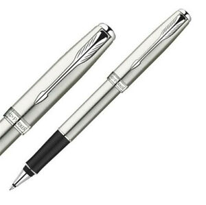 Parker-Sonnet-Series-Steel-Color-White-Clip-0-5mm-Nib-Rollerball-Pen