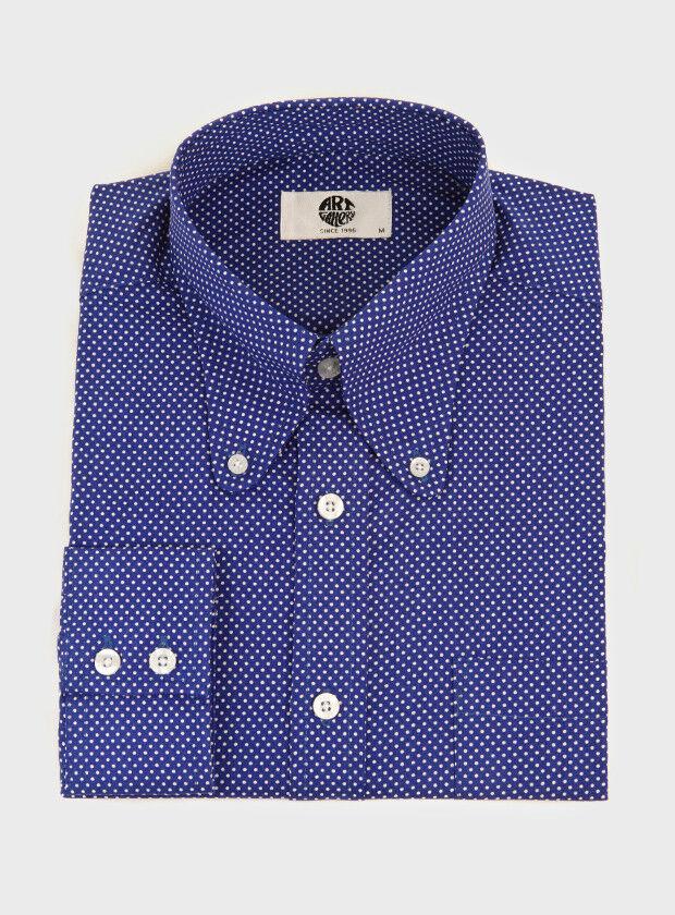Navy Blau Polka Dot Shirt Button Down Beagle Collar Retro Slim Fit Mod 60s SALE