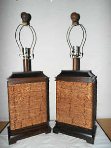 lamps pair hotel style 3 way wood and rope boxed house. Black Bedroom Furniture Sets. Home Design Ideas