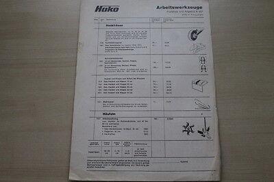 Preise & Extras Hako Arbeitswerkzeuge Prospekt 08/1973 163627