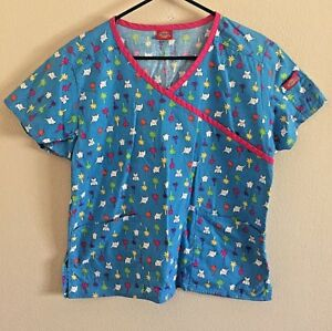 6f8f561ba07 Dickies scrub Top Womens size S palm trees elephants medical shirt ...