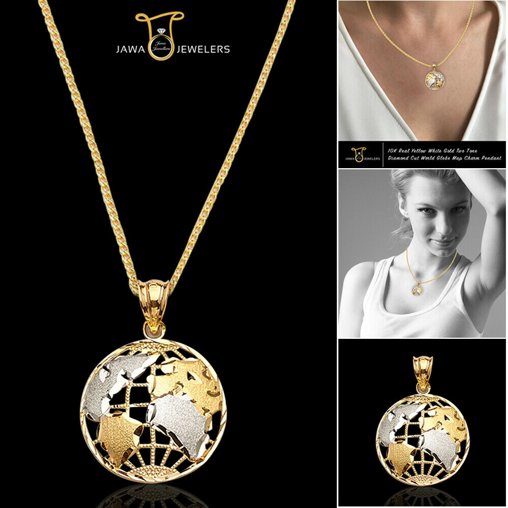 Authentic 10K Real gold Two Tone World Globe Map Charm Pendant