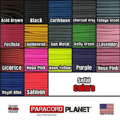 550 Paracord Mil Spec Type III 7 strand parachute cord 25ft, 50ft, 100 ft