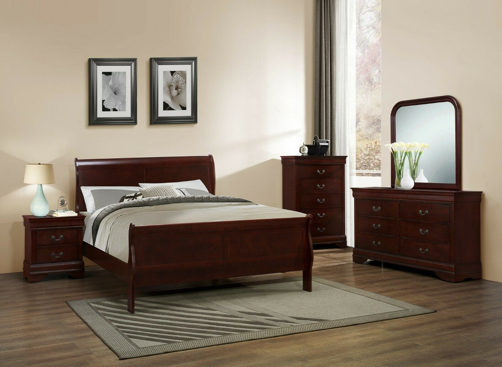 Louis Philippe 4 Piece 5 Piece Full Sleigh Queen Bedroom Set In Cherry Finish For Sale Online