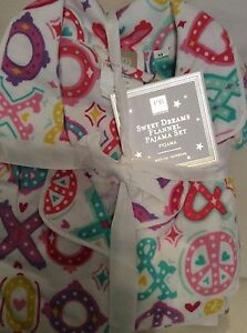 Pottery Barn Teen Sweet Dreams Flannel PJ Set Sz Medium XOXO Pajamas