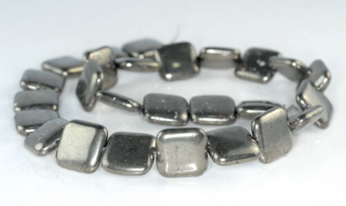 """16MM  IRON PYRITE GEMSTONE PERFECT SQUARE 16MM LOOSE BEADS 7.5/"""""""