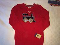 Oshkosh B'gosh Boys Red Cotton Train Sweater Sz 7 M
