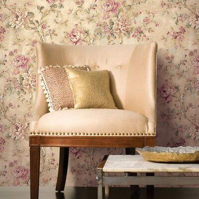 Multi Roll Lot - Cabbage Rose Pink Green Cream Designer Floral Wallpaper