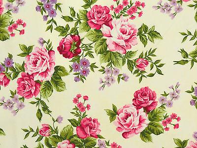 Romantik Rosenstoffe Stoffe Pink Rosa Flieder Vanille Rosen Blüten BW 30x1,12