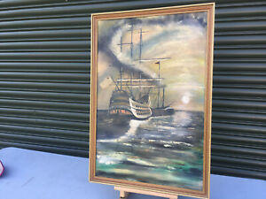 Framed-signed-oil-painting-on-canvas-Tall-ship-sailing-in-the-moonlight-E300319A