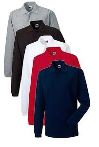 Russell-Jerzees-Mens-Mans-Long-Sleeve-Plain-Cotton-Polo-Golf-Sports-Shirt-XS-XXL
