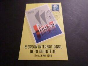 MARCOPHILIE-FRANCE-16-5-50-CACHET-sur-CP-6-SALON-PHILATELIE-FOIRE-de-PARIS