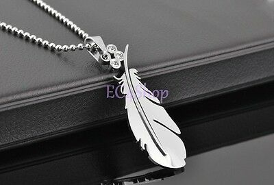 Men's Women's Lovers Love Feather Stainless Steel CZ Crystal Pendant Necklace