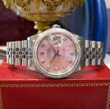 ROLEX 36MM DATEJUST PINK MOTHER-OF-PEARL DIAMOND BEZEL OYSTER PERPETUAL WATCH