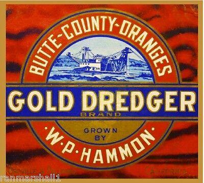 Butte County Feather River Orange Citrus Fruit Crate Label Art Print Oroville