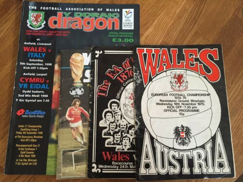 4 X Wales International Football Programmes from 1974 to 2000