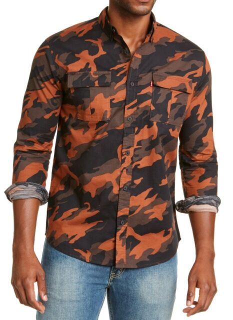 Levi's Mens Shirt Orange Size XL Button Down Camo Print Dual Pockets $59 #028